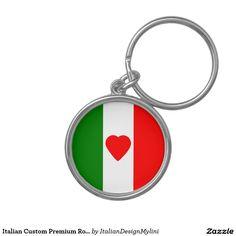 Italian Custom Premium Round Keychain