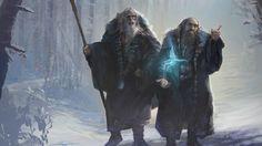 Les mages bleus : appelés ainsi car ils portent tous deux des robes de couleur bleu marine. Dans Les Contes et légendes inachevés, Tolkien a appelé ces deux sorciers Alatar et Pallando. Mais dans The Peoples of Middle-earth, leurs noms nous en apprennent plus sur leur mission en Terre du Milieu à faire; dans ce livre, ils sont été appelés Morinehtar « Tueur de ténèbres » et Rómestámo « Secours de l'Est »