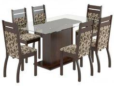 Conjunto de Mesa com 6 Cadeiras Estofadas Madesa - Lorena