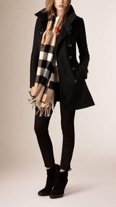 Short Double Wool Twill Trench Coat Black | Burberry