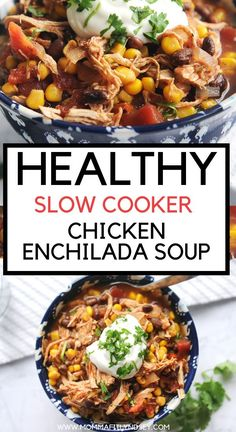 Healthy Slow Cooker Chicken Enchilada Soup.  Easy to Make in the slow cooker, instant pot, or crockpot.  Great for clean eating diet and weight watchers friendly.  Family friendly and great for picky kids. Chicken Enchilada Soup, Chicken Enchiladas, Healthy Crockpot Recipes, Slow Cooker Recipes, Crockpot Meals, Slow Cooking, Slow Cooker Chicken Healthy, Chicken Cooker, Clean Eating Soup