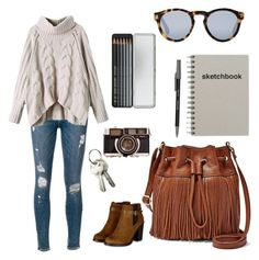 """Untitled #82"" by lizzyloo14 on Polyvore featuring Frame Denim, FOSSIL, Paper Mate, PATH, Illesteva, Caran D'Ache, women's clothing, women, female and woman"
