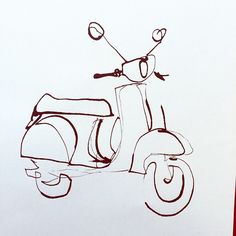 Outline Vespa #illustration #vespa #outline #ink... - ekaterina-koroleva