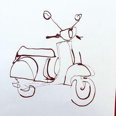 Outline Vespa #illustration #vespa #outline #ink... - ekaterina-koroleva