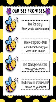 """These could be YOUR classroom """"Bee promises"""". It can be printed as a poster for your classroom or in a smaller version to have your students cut, and paste it on their copybooks, or they can color it as a white and black version is included in this download. High quality graphics. Phrases can be customized. Just send us an email after your puruchase with the phrases you need in it. Classroom Jobs, Classroom Displays, Preschool Classroom, Future Classroom, Elementary Counseling, Elementary Schools, Career Counseling, School Age Activities, Preschool Lessons"""