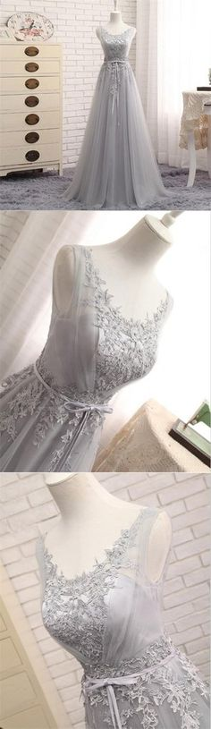Scoop Neckline Gray Lace Evening Prom Dresses, Popular Lace Party Prom – SposaDresses
