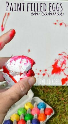 Throw paint filled eggs at canvas.  Making the eggs is easy and this project is so FUN!