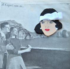 Spilla in legno dipinta a mano con cappello a cloche e nastro in seta (il tessuto è vintage) - Stella 1920 : Spille di Refuse