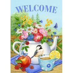 Garden Decor Colored Flowers In The Teapot Decor Garden Flag House Flags Yard Banner & Garden Outdoor Flags, Outdoor Art, Flag Pole Bracket, Merry Christmas Love, Mailbox Covers, Holly Wreath, Flag Signs, Evergreen Flags, Iris Garden
