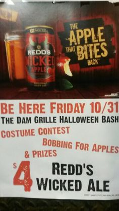 Join us at #TheDamGrille Friday night for our Halloween party.  Hosted by Reds Wicked Apple Ale. We will have bobbing for apples to win prizes and a costume contest where you can win The Dam Grille gift cards up to $100