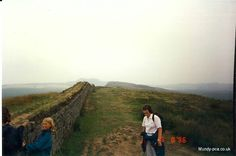 Eileen on the Hadrian's wall walk 1996