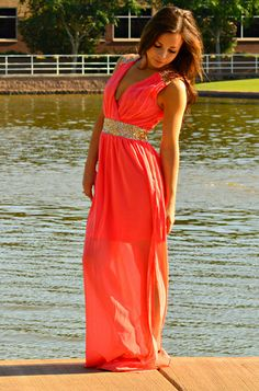 ROMAN GODDESS CHIFFON MAXI DRESS IN CORAL