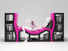Another book shelf with chair. Although I am not sure how comfy this one looks. But I do love the hot pink and black!