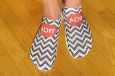 Custom Printed Sorority No Show Socks Set of by SockprintsOnEtsy - Alpha Omicron Pi socks!