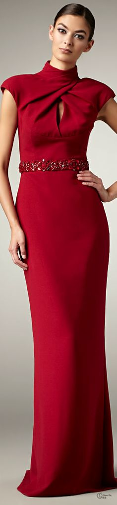 Badgley Mischka ● Red Beaded waist Gown