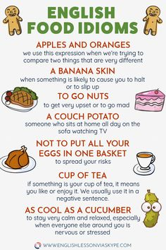 Learn English Food Idioms - English idioms with meanings - # meaning . - Learn English Food Idioms – English idioms with meanings – - Grammar And Vocabulary, English Vocabulary Words, English Phrases, Learn English Words, English Grammar, Food Vocabulary, Improve Your Vocabulary, Grammar Tips, Grammar Rules