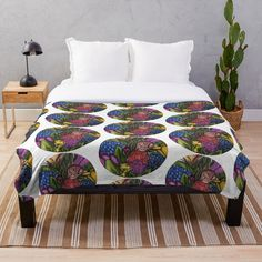 'Flower Bouquets ' Throw Blanket by Laurajart Buy Flowers, Bright Flowers, Flower Bouquets, Large Prints, Comforters, Colours, Blanket, Pillows, Printed