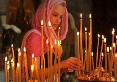 Question: Why do we light candles in the Orthodox Church? Answer: There are typically two types of candles that Orthodox are fa. Orthodox Wedding, Spiritus, Orthodox Christianity, Christian Women, Kirchen, Our Lady, Round Cut Diamond, Shakespeare, Spirituality