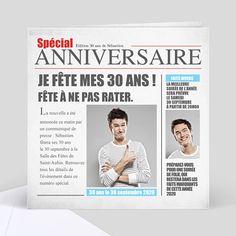Cartes d'Invitation Anniversaire pour Adultes - Popcarte Journal, Invitations, Unique Cards, 30 Years Old, Smile, Save The Date Invitations, Invitation, Journals
