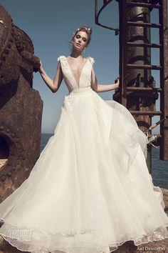 julie vino a j designers bridal s2017 sleeveless thick strap plunging v neck princess a  line wedding dress open low back detachable skirt…