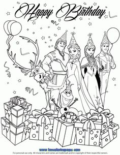 Frozen Characters Happy Birthday Wish Coloring Page