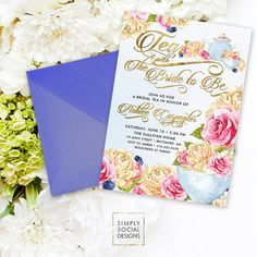 Items similar to Bridal Tea Shower Invitation - Tea with the Bride to Be Peony Ranunculus and Faux Gold Foil Watercolor Tea pot Tea Cup Bridal Shower on Etsy Bridal Tea Invitations, Digital Invitations, Birthday Party Invitations, Invites, Ranunculus, Peonies, Invitation Design, Shower Invitation, Baby Shower Announcement