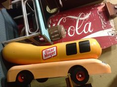 Oh I wish I were an Oscar Mayer Wiener Vintage Oscar Mayer Wiener Mobile Pedal Car in Booth 278 at the Brass Armadillo.  Shipping is available for an additional fee. 816-847-5260