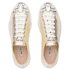 Miu Miu gold laminated leather lace-up sneaker with metallic finish toecap embellished with Swarovski crystals Platform Sneakers, Leather Sneakers, Shoes Sneakers, Cap Toe Shoes, Miu Miu Shoes, Decorated Shoes, Metallic Shoes, Bridal Accessories, Leather And Lace