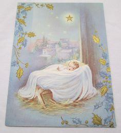 Vintage Christmas Greeting Card 1948 Religious Baby Jesus Bethlehem Star Manger | eBay