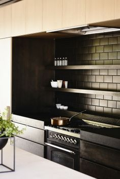 In-situ House by Rob Kennon Architects. I like the calming Japanese zen of these masculine and elegant black matte subway tiles.
