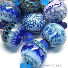 "ANASTASIA--lampwork beads--(7)--""AQUATIC""--SRA #set"