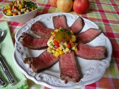 Grilled London Broil with Apple Mango Salsa - My husband, Vince, and I have just returned from a much-needed vacation to the mountains of Tennessee and North Carolina.  It's always great to admire the breathtaking majesty of the mountains. The cooler temperatures were pretty wonderful, too! Always on a quest for new recipes and catering ideas, I found myself surrounded by trees loaded with apples and couldn't resist the temptation to test some inspirations.