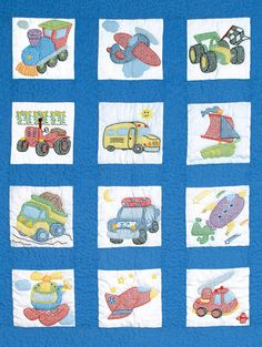 Stamped Nursery Quilt Blocks Transportation. Contains one set of twelve - 9in x 9in nursery squares of cotton, poly broadcloth, floss requirements and list of additional materials needed to complete q