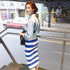 Pin for Later: Jean Jacket Outfit Inspiration that Will Take You from Summer to Fall With a Striped Skirt