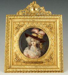 Antique French Miniature Ivory Portrait