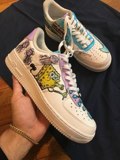 Custom Spongebob Nike's for Sale in Boston, MA - OfferUp - Deringa Sneakers Mode, Custom Sneakers, Sneakers Fashion, Custom Painted Shoes, Custom Shoes, Cartoon Shoes, Painted Sneakers, Nike Shoes Air Force, Aesthetic Shoes