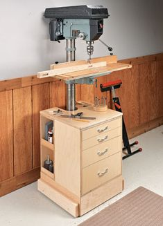 Builds up to 16000 Carpentry Projects - Drill Press Upgrade. Woodworking Tools Safety Tips Click photo to assess more information. Builds up to 16000 Carpentry Projects - Get A Lifetime Of Project Ideas and Inspiration! Workshop Design, Workshop Storage, Workshop Organization, Garage Workshop, Workshop Ideas, Tool Storage, Garage Storage, Workshop Layout, Garage Organization