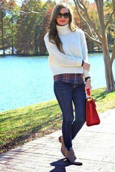 Sweater: J.Crew | Plaid Shirt: J.Crew, old {similar + oversized & more here} | Jeans: 7 FAM |...