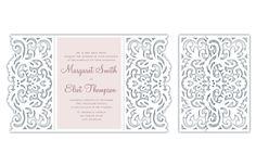 Gate-fold Wedding / Quinceanera Invitation laser cut Card Template, SVG DXF cutting file, Silhouette Cameo, Cricut