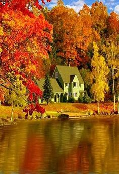 beautifulpicturesamazing:  Hello autumn beautiful amazing  Wow! This house in this loction is jaw dropping.