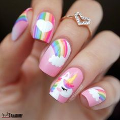 50 Magical Unicorn Nail Art Designs - Many people have a passion for unicorn nails. And Unicorn nails are becoming a unique trend. Unicorn Nail Art, Unicorn Nails Designs, Girls Nail Designs, Cute Nail Designs, Nails For Kids, Girls Nails, Nail Art Kids, Food Nail Art, Cute Nail Art