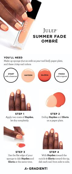 Beauty How To: The Summer Fade Ombré Nail courtesy of Julep and Sephora Diy Nails, Cute Nails, Pretty Nails, Beauty Tutorials, Nail Tutorials, Nails Decoradas, Julep Nail Polish, Nailart, Fancy