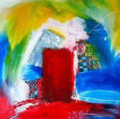 "Saatchi Art Artist Vera Komnig; Collage, ""Found No. 2"" #art 80x 80 cm Acrylic paint, carton, burlap, cardboard, paper, found objects on canvas. $ 2200.- http://www.saatchiart.com/art/Collage-Found-No-2/695057/2476692/view www.verakomnig.com"