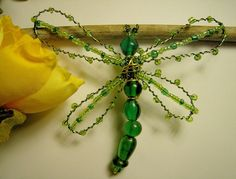 Bead Bug Dragonfly Brooch - Beaded Insect Jewelry - Gemini Leo - Wedding Bouquet Adornment. $20,00, via Etsy.