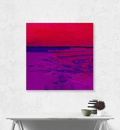"""Abstract Landscape, Large Southwest, red, magenta, purple INSTANT DOWNLOAD, Digital print, OIL Art """"Square Abstract 8D"""" Kathy Morton Stanion"""