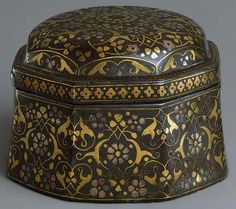 Box with lid, late 16th century India, the Deccan (Bidar) Metal alloy inlaid with brass and silver; H. 3 3/4 in. (9.5 cm), W. 5 3/8 in. (13.7 cm)