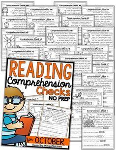 Reading Comprehension Checks for October (NO PREP) by The Moffatt Girls Graphic Organizer For Reading, Graphic Organizers, Preschool Literacy, Literacy Activities, Learning Resources, Early Readers, Simple Stories, Reading Comprehension, School Days