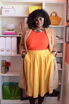 Plus size fashion for women Skirt: @modcloth   #colorblocking #mustard…