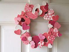 Wreath made of salt dough hearts