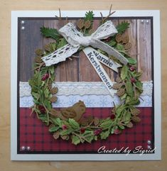 Handmade card by DT member Sigrid with Craftables Wreath (CR1387) from Marianne Design